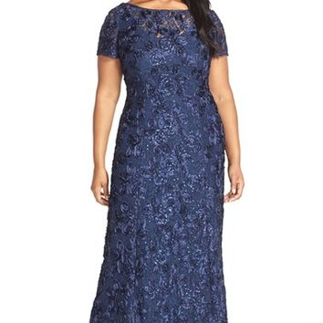 Plus Size Women's Alex Evenings Rosette Lace Short Sleeve A-Line Gown ,