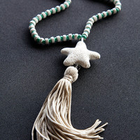 long tassel , necklace , handmade , with white volcano star fish , summer jewelry , women's necklace , gifts , necklaces , women's necklace