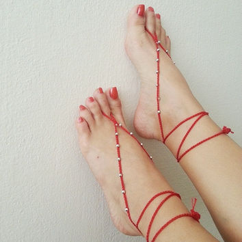 Red & silvery Oriental barefoot sandals - Feet Accesories - Summer - Footwear - nude shoes sandles - foot jewelry, yoga, beach