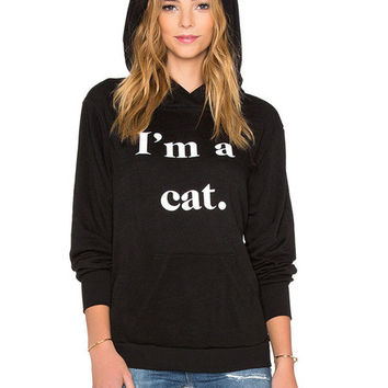 Black Hoodie With Cat Ears - In Plus sizes too