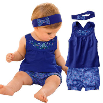 Newborn Baby Girl Clothing Set ( T-shirt+short +Headband )