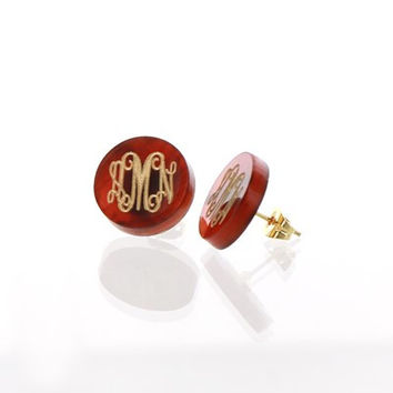 Monogram Acrylic Stud Earrings