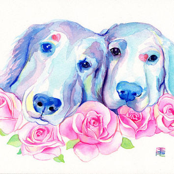 2 DOGS custom PORTRAIT - 2 pets / 2 persons with elements extra (roses) Watercolor painting