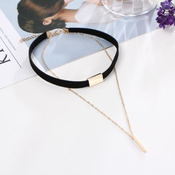 Fashion retro leather simple leather necklace double vertical bar choker neck necklace