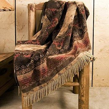 Ben and Jonah Western Frontier Throw Blanket With Fringes