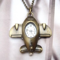 Cute Brass Plane Pocket Watch Pendant Necklace - Other