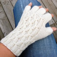 CYBER MONDAY Etsy Sale - White fingerless gloves, hand knitted half finger gloves arm warmers / wrist warmers, free shipping