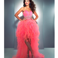Mac Duggal Prom 2013 - Strapless Candy Pink Tulle Cha Cha Dress - Unique Vintage - Cocktail, Pinup, Holiday & Prom Dresses.