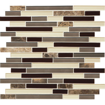 Shop American Olean Mosaic Chateau Emperador Glazed Mixed Material (Stone and Glass) Mosaic Random Indoor/Outdoor Wall Tile (Common: 12-in x 12-in; Actual: 11.75-in x 13-in) at Lowe's