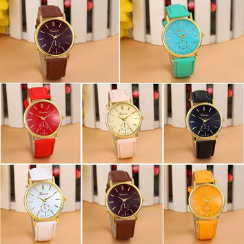 Unisex  Fashion Quartz  WristWatch New Geneva Leather Band Analog Watches = 1956485124