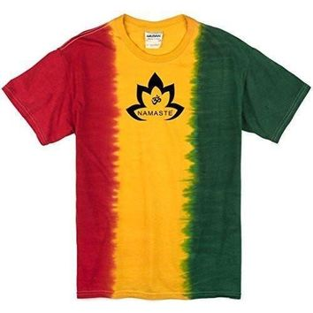 Yoga Clothing for You Mens Namaste Lotus Rasta Tie Dye Tee Shirt