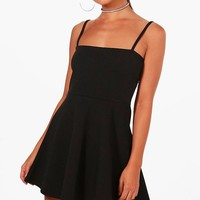 Petite Jade Square Neck Skater Dress | Boohoo
