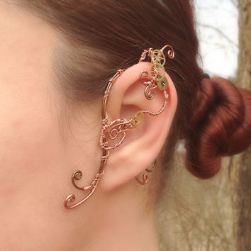Copper and Cogs Steampunk Wire Ear Wrap