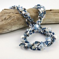 Multi Strand Necklace Blue Pearl Opal Sea by AbacusBeadCreations