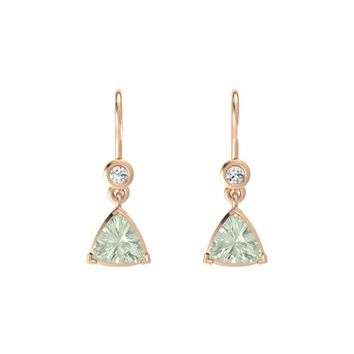 Trillion Green Amethyst 14K Rose Gold Earring with White Sapphire