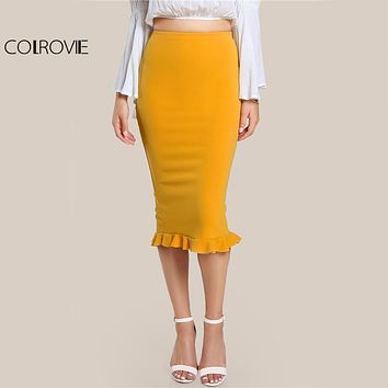 Split Ruffle Pencil Skirt Yellow Sexy Slim Elegant Fashion High Waist Skirt