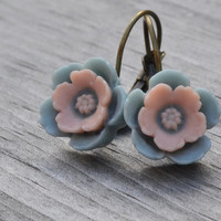 Blue and Pink Earrings, Cherry Blossom, Floral Earrings, Flower Cabochon, Resin Flower, Antiqued Brass, Lever Back Earrings, Gift for Her