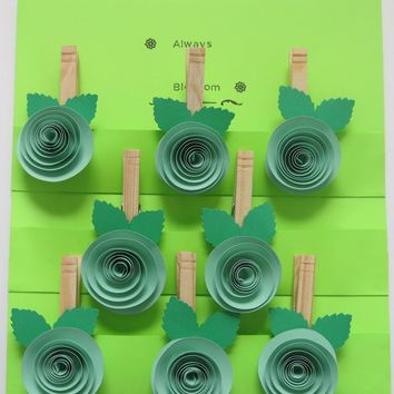 set of 8 party favors, mint green rose clothespin magnets, magnetic bag clip, freshness sealer, baggie closure