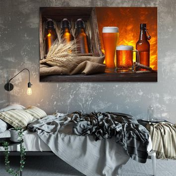NEWBILITY Retro European Beer Bar Painting Cafe Posters Reataurant Wall Art Prints Kitchen Realist Pictures Home Decoration