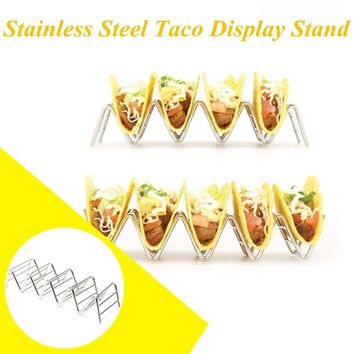 4 Grids Waved Stainless Steel Mexican Taco Holder Display Stand Up Shell Food Rack Pie Pancake Baking Decorating Tools Bakeware