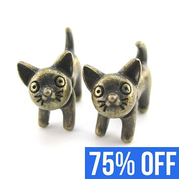 Fake Gauge Earrings: Adorable Kitty Cat Animal Plug Earrings in Bronze