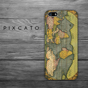 The World - Vintage Map - Map 02 - Iphone Case, Hard Plastic, FREE Shipping Worldwide