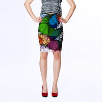Stained Glass Design Art Skirt, Green and Blue Fitted Skirt