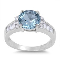 Sterling Silver Round Simulated Aquamarine Ring (Size 5 - 9)