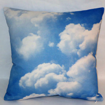 "Blue Sky With Clouds Pillow, 17"" Square Cotton Blend, New Braemore Fabric, Trompe l'Oeil, Zipper Cover Only or Insert Included, Ready  Ship"