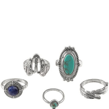 Silver And Teal 5 Piece Ring Set