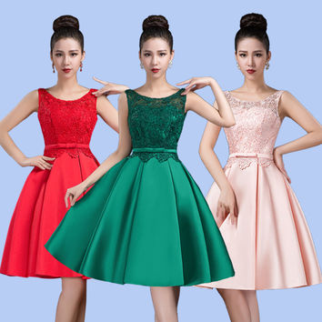 2016 new arrival Women's cocktail party dresses short dress lace-up sexy V-opening back bow lace dress free shipping