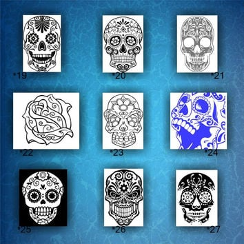 SKULLS vinyl decals - 19-27 - Dia de Los Muertos decals - vinyl decals - day of the dead stickers - car window stickers - custom decal