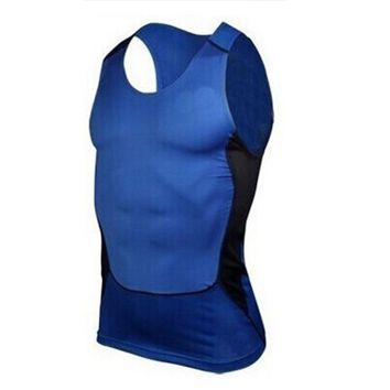 Men Compression Tight Shirt Base Layer Boy Gym Exercise Slim Vest Tops S-XXL
