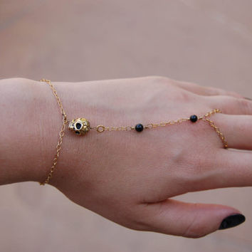 JASMINE HANDPIECE-14k gold filled chain handpiece featuring 22k gold skull, turquoise stone, and onyx beads