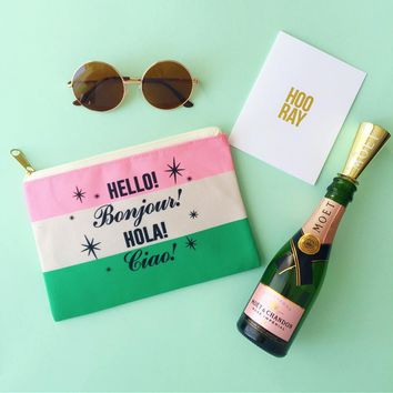 Hello Bonjour Hola Ciao Paris Travel Makeup Pouch