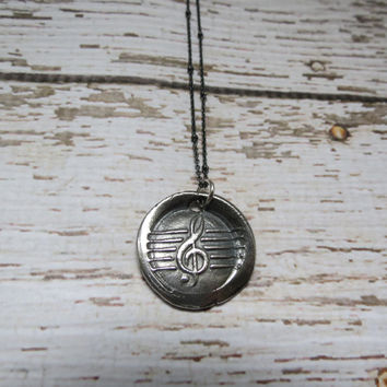 Musical G Clef Pure Silver Antique Wax Seal and Sterling Silver Necklace ~ Musician. Music Lover.