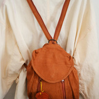 Free Ship Brown Leather Backpack Shoulder Bag Purse