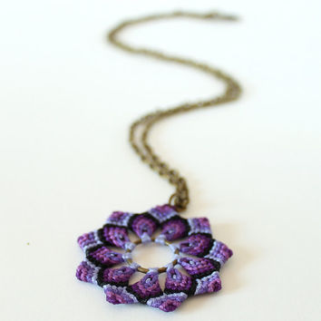 Textile mandala flower necklace hippie boho purple black