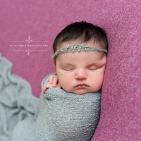 Light Gray Pearls Mohair Halo Tieback Headband