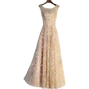 Vintage Gold Evening Gowns Long Floor Length Lace Prom Dresses