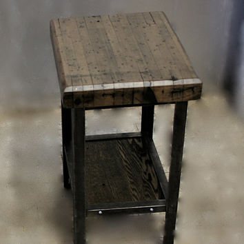 END TABLES NIGHTSTANDS Retro Chic, Made To Order of Reclaimed Bowling Alley, Recycled Angle Iron, Shabby Chic.