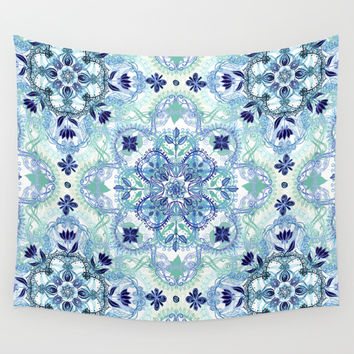 Navy Blue, Green & Cream Detailed Lace Doodle Pattern Wall Tapestry by Micklyn