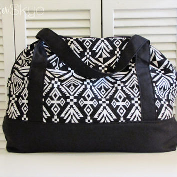Aztec Black and White Weekender with Solid Black Straps Bottom and Interior - Carryon - Diaper Bag - Oversized Purse