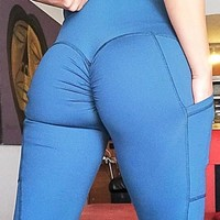 Blue Pleated Pockets High Waisted Sports Yoga Workout Long Legging