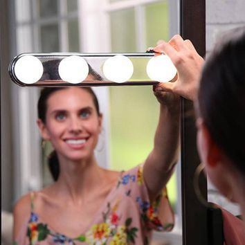 Studio Glow Make Up Light Super Bright 4 LED Bulbs Portable Cosmetic Mirror Light Kit Battery Powered Makeup Light