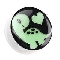 Glow in the Dark Adorable Dino Heart Single Flared Ear Gauge Plug