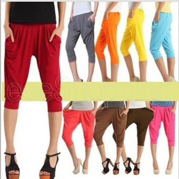Fashion Women's Lady Girl Korean Harem Capris Stretchy Legging Cropped Loose Hip-Hop Pencil Pants Casual Trousers Candy Colors = 1958787012