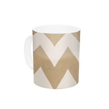"Catherine McDonald ""Biscotti and Cream"" Chevron Ceramic Coffee Mug"