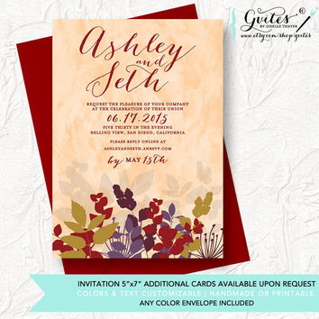 Fall wedding invitations, fall weddings invite, autumn wedding invitation, burgundy invitations, floral, flower. Customizable for any event.