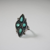 Heirloom Antiqued Sterling Silver with four Turquoise Stones Ring Vintage Sterling Silver Ring Size  8 - free ship US